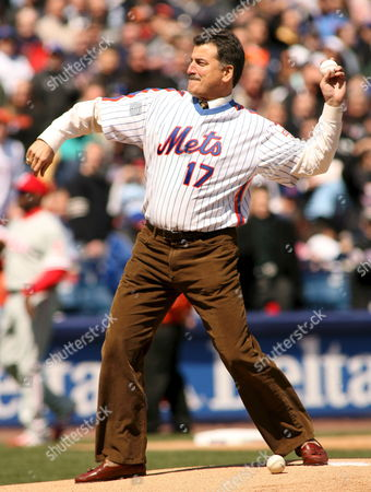 Former New York Mets First Baseman Keith Hernandez Throw's out the Ceremonial First Pitch On Opening Day Against the Philadelphia Phillies at Shea Stadium in Queens New York Monday 09 April 2007