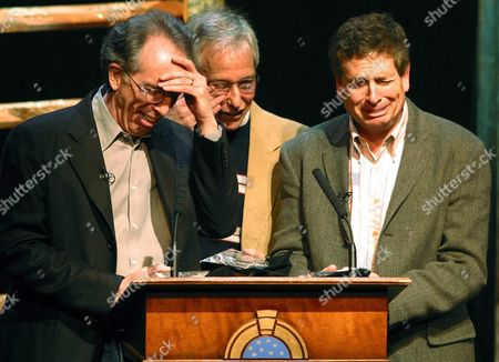 Filmmakers Jerry Zucker (l) Jim Abrahams (c) and David Zucker Shed Tears of Joy After Receiving the American Film Institute's Filmmaker's Award at the Wheeler Opera House in Aspen Colorado On Friday 5 March 2004 the Zucker Brothers and Abrahams Wrote and Directed 'Airplane' and 'Top Secret ' 'Naked Gun ' and 'Ruthless People ' Epa/gary C Caskey