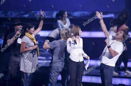 Latin Artists (r-l) Ricardo Montaner Diana Reyes Noel Yuridia and Victor Manuelle Rehearsefor the 2008 Billboard Latin Music Awards at the Seminole Hard Rock Hotel & Casino Hollywood Florida Usa 08 April 2008 the Latin Billboards Will Be Broadcast Live by Nbc/telemundo On 10 April 2008