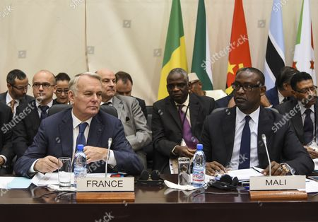 Stock Picture of Jean Marc Ayrault and Abdoulaye Diop