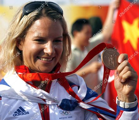 Bryony Shaw of Great Britain with Her Bronze Medal in the Rs:x Women's Windsurfing Event in Qingdao China 20 August 2008 Yin Jian of China Won Gold Giving China Its First Ever Olympic Sailing Gold and Italys Alessandra Sensini Won Silver