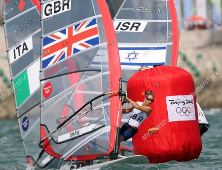 Bryony Shaw of Great Britain Corners a Buoy in Action For Bronze in the Rs:x Women's Windsurfing Event in Qingdao China 20 August 2008 Yin Jian of China Won Gold Giving China Its First Ever Olympic Sailing Gold and Italys Alessandra Sensini Won Silver
