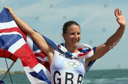 Bryony Shaw of Great Britain Celebrates Her Bronze Medal in the Rs:x Women's Windsurfing Event in Qingdao China 20 August 2008 Yin Jian of China Won Gold Giving China Its First Ever Olympic Sailing Gold and Italys Alessandra Sensini Won Silver