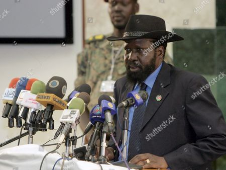 South Sudan Leader Salva Kiir Speaks During His Meeting with Sudan's President Omar Hassan Ahmad Al-bashir (not Seen) in Juba Southern Sudan On 27 August 2008 Al-bashir Went to Juba to Sign Contracts For Various Projects to Be Implemented in Southern Sudan Including Bids For the Construction of Three Power Dams in the South Also to Hold Talks with a Joint Council of Ministers to Review Implementation of the Comprehensive Peace Agreement