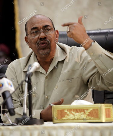 Sudan's President Omar Hassan Ahmad Al-bashir Speaks During His Meeting with South Sudan Leader Salva Kiir (not Pictured) in Juba Southern Sudan On 27 August 2008 Al-bashir Went to Juba to Sign Contracts For Various Projects to Be Implemented in Southern Sudan Including Bids For the Construction of Three Power Dams in the South Also to Hold Talks with a Joint Council of Ministers to Review Implementation of the Comprehensive Peace Agreement