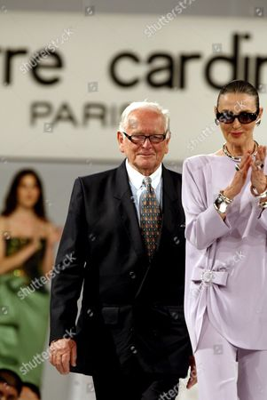 Fashion Designer Pierre Cardin (l) Walks with with His Fashion Director Maryse Gaspard (r) On the Catwalk After the Pierre Cardin Fashion Show in Istanbul Turkey Wednesday 21 June 21 2006