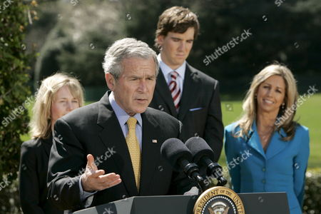 U S President George W Bush (c) Speaks About the 'National President's Challenge' at the White House in Washington Dc Usa On 20 March 2008 Behind Bush Are Melissa Johnson (l) Executive Director of the President's Council On Physical Fitness New York Giants Quarterback Eli Manning and Fitness Celebrity Denise Austin the National President's Challenge is a Six Week Physical Activity Challenge Designed to Improve the Health of U S Citizens