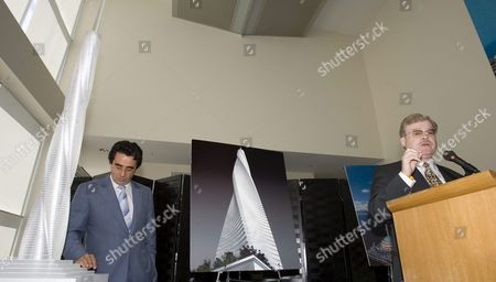 Spanish-born Architect and Engineer Santiago Calatrava (l) Stands Next to a Model of 'Fordham Spire' That Developer Christopher Carley (r) Plans to Build Overlooking Lake Michigan in Chicago Illinois On Wednesday 27 July 2005 the Building Will Rise 115 Stories and Be Topped with a Steel Spire That Could Soar More Than 2 000 Feet Over the City Skyline When Completed in Three Years It Will Be the Tallest Building in the United States