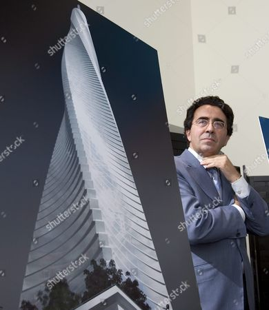 Spanish-born Architect and Engineer Santiago Calatrava Looks at an Artist's Rendering of His Design For 'Fordham Spire' That Developer Christopher Carley Plans to Build Overlooking Lake Michigan in Chicago Illinois On Wednesday 27 July 2005 the Building Will Rise 115 Stories and Be Topped with a Steel Spire That Could Soar More Than 2 000 Feet Over the City Skyline When Completed in Three Years It Will Be the Tallest Building in the United States