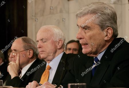 (l-r) Sen Carl Levin (democrat- Michigan) Chairman of the Senate Armed Services Committee and Sen John Mccain (republican- Arizona) Listen As Sen John Warner (republican- Virginia) Speaks During a Hearing of the Committee On Capitol Hill in Washington Dc On Thursday 01 February 2007 the Committee Held a Confirmation For General George Casey Who is Nominated to Be the Next Army Chief of Staff Levin and Warner Have Come Together On a Compromise Resolution Against the Proposed Troop Surge in Iraq Mccain is Sponsoring a Competing Resolution Which Favors the Surge