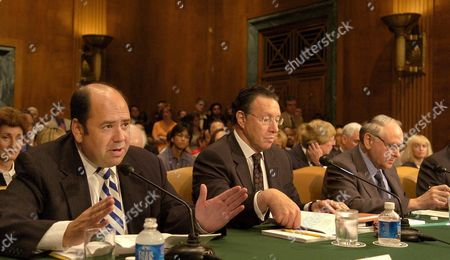 Time Magazine's White House Correspondent Matthew Cooper (l) Testifies Along with with Time Inc Editor-in-chief Norman Pearlstine (c) and New York Times Columnist William Safire As They Appear Before the Senate Judiciary Committee Wednesday 20 July 2005 On Capitol Hill the Committee Was Holdings Hearings On 'Reporters' Privilege Legislation: Issues and Implications' Cooper Faced a Jail Sentence For Refusing to Reveal His Sources in the Outing of a Cia Officer's Name
