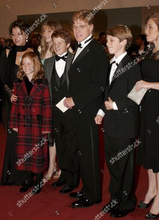 Robert Redford (c) and His Family Arrive at the 28th Annual Kennedy Center Honors in Washington Dc Sunday 04 December 2005 Recipients to Be Honored at the 28th Annual National Celebration of the Arts Are: Singer Tony Bennett; Dancer and Teacher Suzanne Farrell; Actress Julie Harris; Actor Director and Producer Robert Redford; and Singer Tina Turner