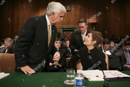 Chief Executive Officer (ceo) of Sirius Satellite Radio Mel Karmazin (l) Talks with President and Ceo of Nrg Media Mary Quass (r) Before the Senate Judiciary Committee Subcommittee Hearing On the Xm-sirius Satellite Radio Merger On Capitol Hill in Washington Dc Tuesday 20 March 2007