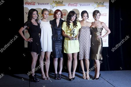 Us Actresses (from Left: Margo Harshman Leah Pipes Rumer Willis Briana Evigan Jamie Chung and Audrina Patridge) Receive the Female Stars of Tomorrow Award at the 2009 Showest Awards in Las Vegas California Usa 02 April 2009 the Closing Night Ceremony For the 2009 Showest Features Top Film Industry Talent at the Final Night Banquet and Awards Ceremony