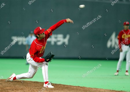 Chinese Ace Jian Wang Zhang Pitching Against Korean National Team in Asia Baseball Championships Thursday 06 November 2003 China Lost to Korea 1-6