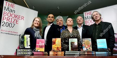 The Six Booker Prize Nominees (l-r) Author of Darkmans Nicola Barker Author of the Reluctant Fundamentalist Mohsin Hamid Author of Animal's People Indra Sinha Author of the Gathering Anne Enright Author of Mister Pip Lloyd Jones and Author of On Chesil Beach Ian Mc Ewan Pose For Pictures at a Photo Call in London Britain 16 October 2007 the Winner of the Booker Prize Will Be Announced at Guildhall at 23:00 Gmt 16 October 2007