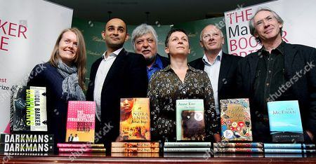 The Six Booker Prize Nominees (l-r) Author of Darkmans Nicola Barker Author of the Reluctant Fundamentalist Mohsin Hamid Author of Animal's People Indra Sinha Author of the Gathering Anne Enright Author of Mister Pip Lloyd Jones and Author of On Chesil Beach Ian Mc Ewan Pose For Pictures at a Photo Call in London Britain 16 October 2007 the Winner of the Booker Prize Will Be Announced at Guildhall at 23:00 Gmt 16 October 2007 Epa/andy Rain