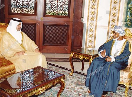 Stock Picture of Sultan Qaboos Bin Said the Sultan of Oman (r) Receives Sheikh Hamdan Bin Zayed Al-nahyan Uae Deputy Prime Minister and Minister of State For Foreign Affairs (l) in Muscat On Tuesday 27 September 2005