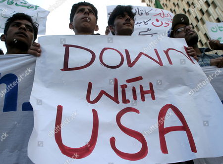 Pakistani Activists of Islami Jamiat-e-talba Students Wing Hold Placards During an Anti-us Rally in Karachi On Monday 16 January 2006 to Condemn the Purported Cia Airstrike Targeting Al-qaida Lieutenant Ayman Al-zawahiri
