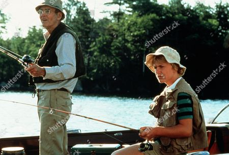'On Golden Pond' Film - 1981 -  Norman Thayer, as played by Henry Fonda, and Billy Ray, as played by Doug McKeon, fishing on the lake.
