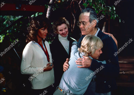 'On Golden Pond' Film - 1981 -  Thel Thayer, as played by Katharine Hepburn, Norman Thayer, as played by Henry Fonda, Chelsea, as played by Jane Fonda, and Billy Ray, as played by Doug McKeon.