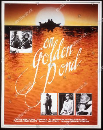 'On Golden Pond' Film - 1981 - Poster featuring Henry Fonda, Katharine Hepburn, Jane Fonda and Doug McKeon