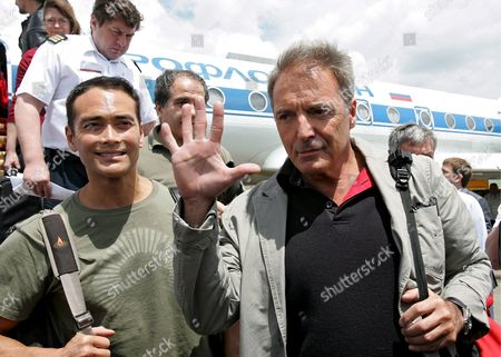 Hollywood Actors Armand Assante (r) and Mark Dacascos (l) Arrive For the 'Noah's Ark' International Film Festival in Grozny Chechnya Russia On 13 June 2008 the First Noah's Ark International Film Festival Starts On 13 June and Runs Through 19 June