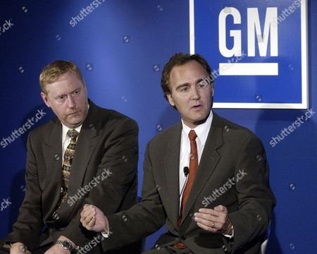 General Motor Corp Group Vice President Gm Powertrain Thomas G Stephens (l) and Larry Burns Vice President Research & Development and Planning Discuss Gm's Long and Short Term Plans On Belle Isle in Detroit On 06 November 2003 Gm Will Add a Strong Hybrid Powertrain to Its Next-generation Full-size Sport-utility Vehicles and Pick-up Trucks Gm's New Strong Hybrid System Evolved From Gm Allison Transit Bus Technology the Strong Hybrid Full-size Suvs and Pick-ups Which Debut in 2007 Also Will Feature Gm's Displacement On Demand Cylinder Deactivation Technology Together the Technologies Will Achieve a Fuel Economy Improvement of About 30 Percent