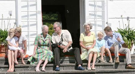 Queen Margrethe, Prince Henrik, Princess Benedikte, Count Jefferson von Pfeil und Klein-Ellguth and princess Alexandra zu Sayn-Wittgenstein-Berleburg
