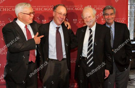Stock Photo of University of Chicago Professor Roger Myerson (2-l) Poses with James Heckman (l) Gary Becker (2-r) and Robert Lucas (r) All Winners of the Nobel Economic Prize From University of Chicago in Chicago Illinois Usa 15 October 2007 Myerson Shares the Nobel Prize in Economics with Leonid Hurwicz and Eric Maskin 'For Having Laid the Foundations of Mechanism Theory' Which Deals with the Design of Economic Institutions