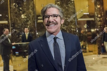 Reporter and talk show host Geraldo Rivera is seen speaking with the press in the lobby of Trump Tower
