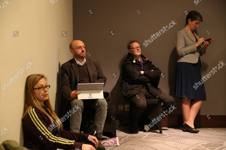 Co-convenors of the Scottish Green Party, Patrick Harvie MSP (second left) and Maggie Chapman (far right)