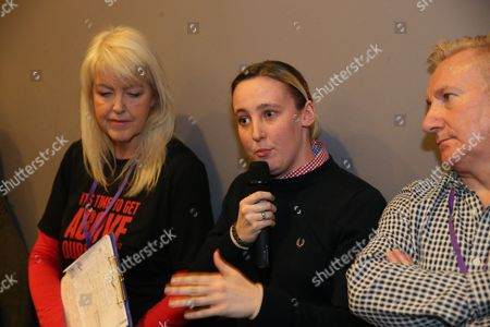 Mhairi Black MP (SNP, Paisley and Renfrewshire South) asks a question from the floor of the conference to Lesley Riddoch (radio broadcaster and journalist), and is watched by her father Alan Black