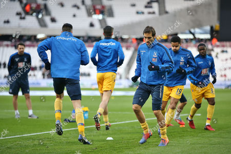 Mathieu Flamini of Crystal Palace warm up   before  the Premier League match between West Ham United and Crystal Palace    played at The London Stadium   , London on 14nth January  2017