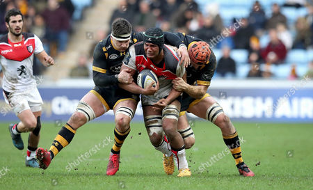 Wasps vs Toulouse. Wasps' Guy Thompson and Joe Launchbury with Thierry Dusautoir of Toulouse