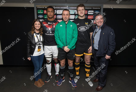 Wasps vs Toulouse. Toulouse's Thierry Dusautoir and Joe Launchbury of Wasps with Referee John Lacey at the coin toss along with Heineken guests