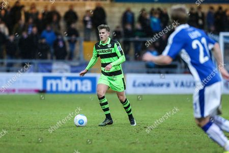 Stock Image of Forest Green Rovers Charlie Cooper(20) runs forward during the FA Trophy 2nd round match between Chester FC and Forest Green Rovers at the Deva Stadium, Chester