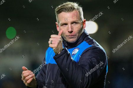 Thumbs up as Chesterfield caretaker Manager Ritchie Humphreys celebrates victory during the EFL Sky Bet League 1 match between Chesterfield and Coventry City at the Proact stadium, Chesterfield