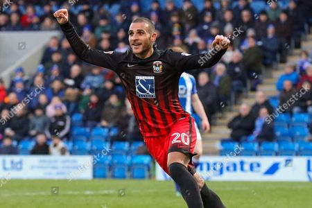 Coventry striker Marcus Tudgay celebrates celebrates scoring a goal, that is then ruled offside during the EFL Sky Bet League 1 match between Chesterfield and Coventry City at the Proact stadium, Chesterfield