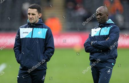 Performance Director Richard Buchanan and Swansea Coach Claude Makelele.