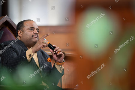 Journalist Roland Martin speaks during a town hall meeting sponsored by Georgia Charter Schools Association and GeorgiaCAN at Ebenezer Baptist Church, in Atlanta
