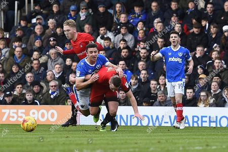 Enda Stevens of Portsmouth is brought down by Sammy Moore of Leyton Orient for a penalty kick during Portsmouth vs Leyton Orient, Sky Bet EFL League 2 Football at Fratton Park on 14th January 2017