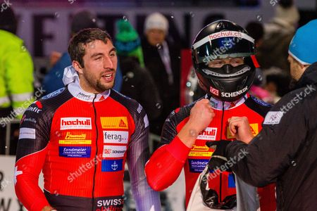 Rico Peter and Thomas Amrhein of Switzerland react during the Men's Two-Man competition at the Bobsleigh World Cup in Winterberg, Germany, 14 January 2017.