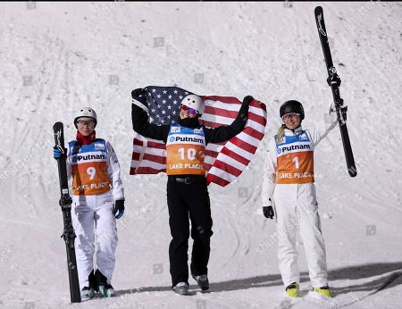 Ashley Caldwell, Danielle Scott, Kristina Spiridonova Winner Ashley Caldwell, center, is flanked by second-place Danielle Scott, right, of Australia, and third-place Kristina Spiridonova, of Russia, in the women's freestyle World Cup aerials competition, in Lake Placid, N.Y
