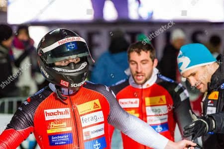 Rico Peter and Thomas Amrhein of the Swiss team after second run at Men's Bobsleigh World Cup in Winterberg, Germany, 14 January 2017.