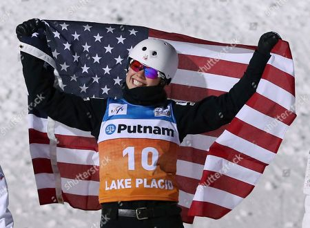 Ashley Caldwell celebrates winning the women's freestyle World Cup aerials competition, in Lake Placid, N.Y