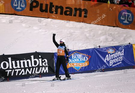 Ashley Caldwell celebrates her jump in the finals of the women's freestyle World Cup aerials competition, in Lake Placid, N.Y. Caldwell won the event