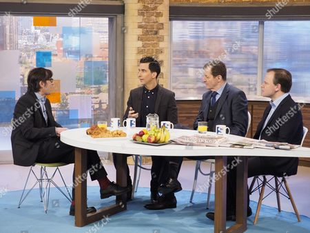 Stock Photo of Robert Peston with Russell Kane, Alastair Campbell, Sir Craig Oliver