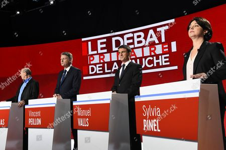 Candidates for the left-wing party primaries ahead of the 2017 presidential election (L-R) President of the Democratic Front (Front Democrate) Jean-Luc Bennahmias, former Education minister Vincent Peillon, former Prime minister Manuel Valls and President of the Radical Left Party (PRG) Sylvia Pinel participate in the second televised debate in Paris, France, 15 January 2017. France's seven left-wing presidential candidates hold their second televised debate before the first round of their primary on January 22.