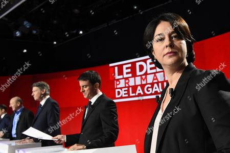 Stock Photo of Candidates for the left-wing party primaries ahead of the 2017 presidential election (L-R) President of the Democratic Front (Front Democrate) Jean-Luc Bennahmias, former Education minister Vincent Peillon, former Prime minister Manuel Valls and President of the Radical Left Party (PRG) Sylvia Pinel participate in the second televised debate in Paris, France, 15 January 2017. France's seven left-wing presidential candidates hold their second televised debate before the first round of their primary on January 22.